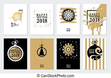 2018 Set of Happy New Year card or background.