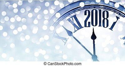 2018 shining banner with clock.