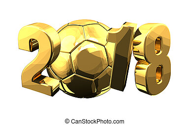 2018 soccer football golden ball 3d rendering