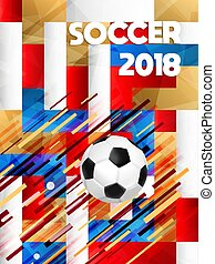 2018 soccer game event ball on color background