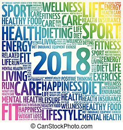 2018 sport word cloud collage, health concept background