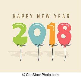 2018, szczęśliwy, rok, nowy
