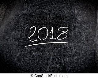2018, text, handskrivet, skrapet, blackboard, chalkboard