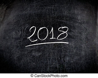 2018 text handwritten scratched blackboard chalkboard - 2018...