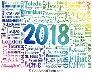 2018 travel cities word cloud collage
