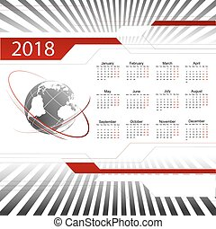 2018, vektor, kalendář