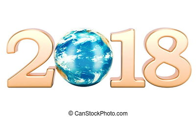 2018 with rotating Earth Globe concept, 3D rendering...