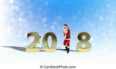 2018 with Santa Claus Dancing against Snow