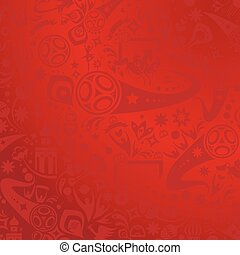 2018 World Cup Russia Football FIFA Abstract soccer background red color, dynamic modern design pattern, soccer wallpaper with soccer symbols, sports award, soccer ball, Russian folk art elements. FIFA 2018