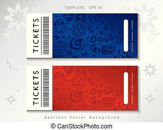 2018 World Cup Russia Football Fifa Vector Tickets set. Soccer Vector illustration.