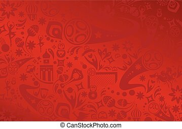 2018 World Cup Russia Football Abstract soccer background red color, fifa 2018 dynamic modern design pattern, soccer wallpaper with soccer symbols, sports award, soccer ball, Russian folk art elements. Vector template.