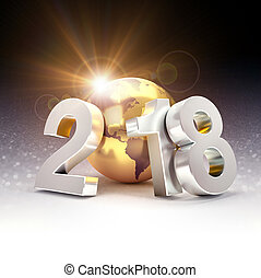 2018 New Year typescript composed with a golden planet earth, on a glittering black background - 3D illustration