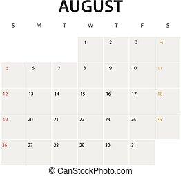 2018 year calendar template. August