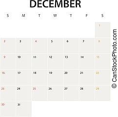 2018 year calendar template. December
