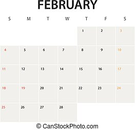 2018 year calendar template. February