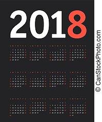 2018 year calendar template. Flat design template