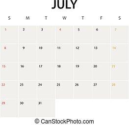 2018 year calendar template. July