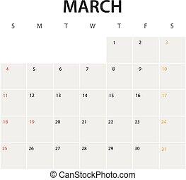 2018 year calendar template. March