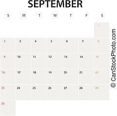 2018 year calendar template. September