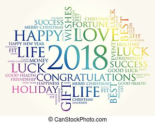 2018 year greeting word cloud collage, Happy New Year...