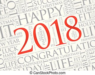 2018 year greeting word cloud collage