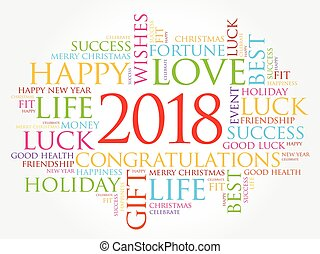 2018 year greeting word cloud