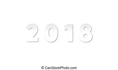 2018 year isolated on white background, 2d animation