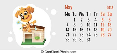 2018 year of yellow dog on Chinese calendar. Fun dog fortune telling on chamomile. Calendar grid month May. Vector cartoon illustration