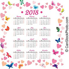 Printable 2018 Calendar With Pretty Colorful Flowers Vector
