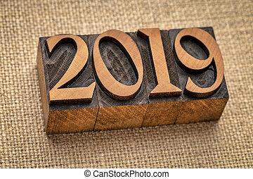 2019, år, antal, abstrakt, ind, letterpress, træ, type