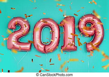 2019, år, konfetti, färsk, sväller, jul firande