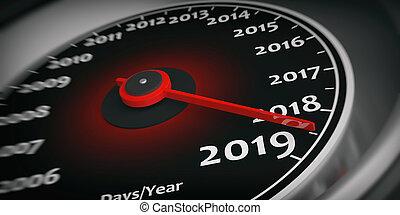 2019, καινούργιος , year., αυτοκίνητο , ταχύμετρο , δείκτης...