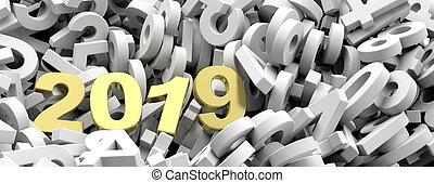 2019, καινούργιος , year., χρυσαφένιος , 2019, άγαλμα ,...