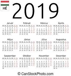 2019, カレンダー, ハンガリー人, 月曜日