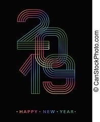 2019, 幸せ, 新しい, year., 数, ミニマリスト, style., ベクトル, 線である, numbers., デザイン, の, 挨拶, card., ベクトル, イラスト