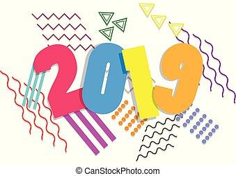 2019, 新年おめでとう, カード, デザイン