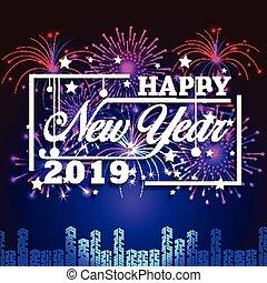 2019, 新年おめでとう, グリーティングカード, ∥で∥, カラフルである, fireworks., ベクトル, デザイン, template.