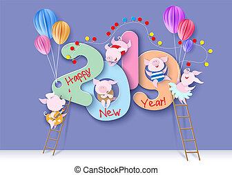 2019, 新年おめでとう, デザイン, カード, ∥で∥, ブタ