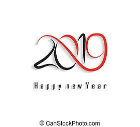 2019, 新年おめでとう, 挨拶, card., ベクトル, デザイン, template.