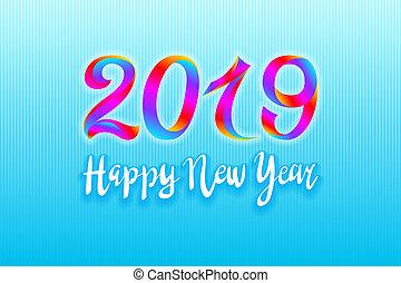 2019, 虹, 新年おめでとう, ベクトル, カード, 背景, 明るい, カラフルである, ペンキ, デザイン, element., イラスト, eps10