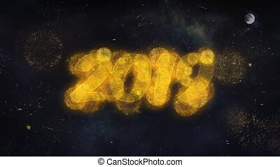 2019 2 Text Wishes Reveal From Firework Particles Greeting...