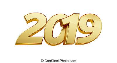 2019, 3d-illustration, letras, arrojado