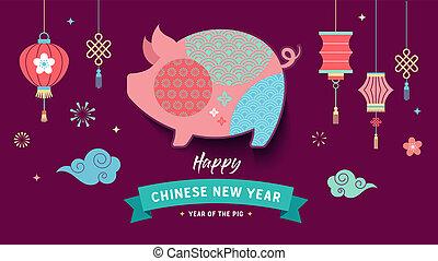 2019, año, vector, nuevo, feliz, bandera, chino, pig.
