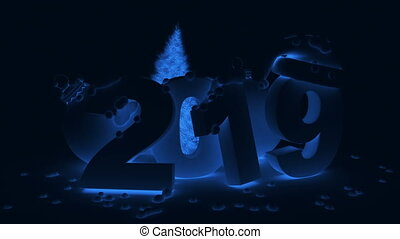2019 and ball Christmas tree