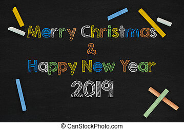 2019 and Merry Christmas Word On Chalkboard