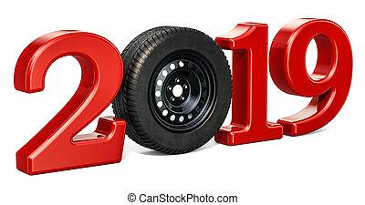 2019, autó, fogalom, noha, autó tol, 3, vakolás