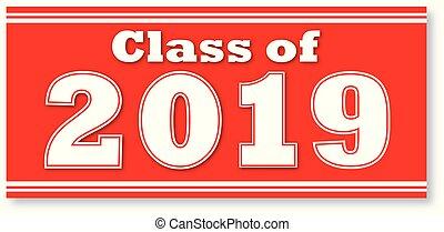 2019, banner, klasse, rotes