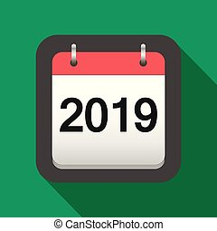2019 calendar flat icon, 2019 calendar cover sheet in flat style, new year's eve vector