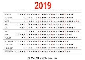 2019 calendar. Print Template. Week Starts Sunday. Portrait Orientation. Set of 12 Months. Planner for 2019 Year.