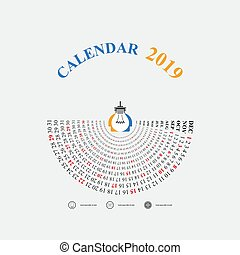 2019 calendar template with idea light bulb iconsemicircle calendarcalendar 2019 set of